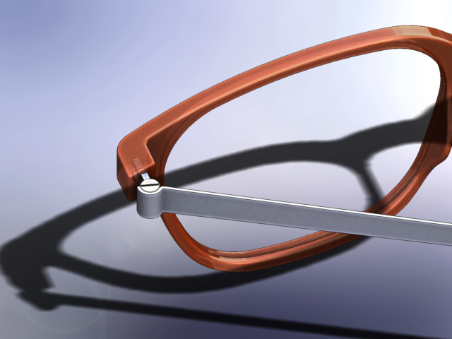 Detail of Reading Glasses modelled by Neil Taylor at Devon 3D CAD